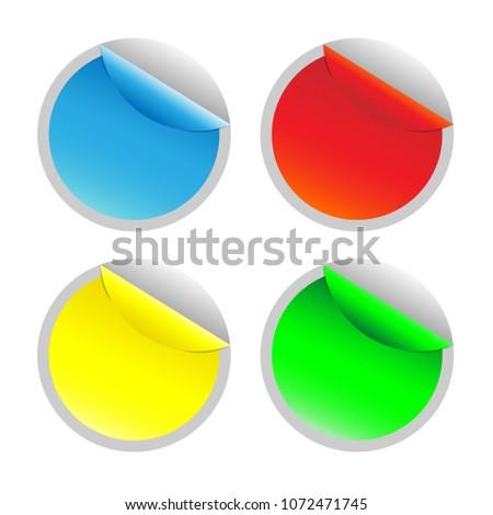 Sticker Template Circle Sticker Curled Corner Stock Vector ...