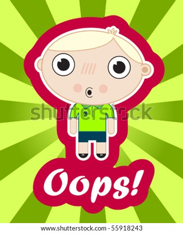 sticker with amazed blond kid in japanese style - stock vector