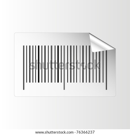 Sticker with barcode and peeling corner - vector. Easy to edit.