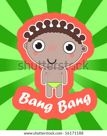 sticker with happy african boy - stock vector