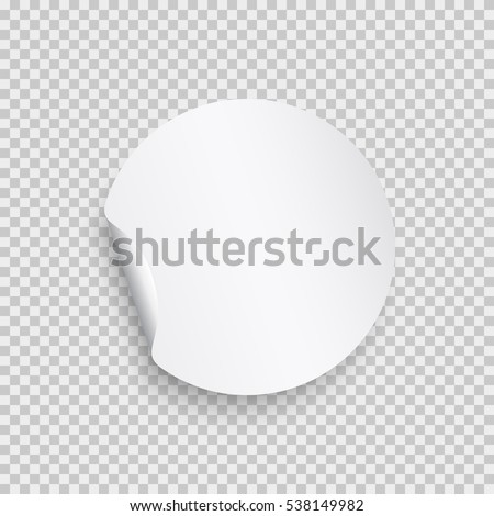 Sticker with peel off corner isolated on transparent background round paper banner or circle curl