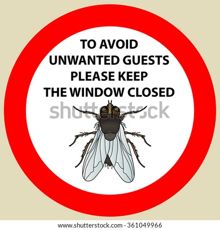 Sticker with Warning sign insect fly icon. Fly Silhouette  Vector illustration - stock vector