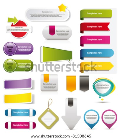 Stickers and banners set - stock vector