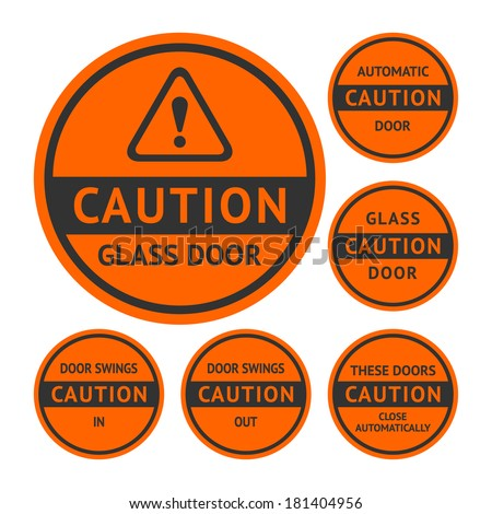 Stickers and Labels on the door. Vector illustration - stock vector