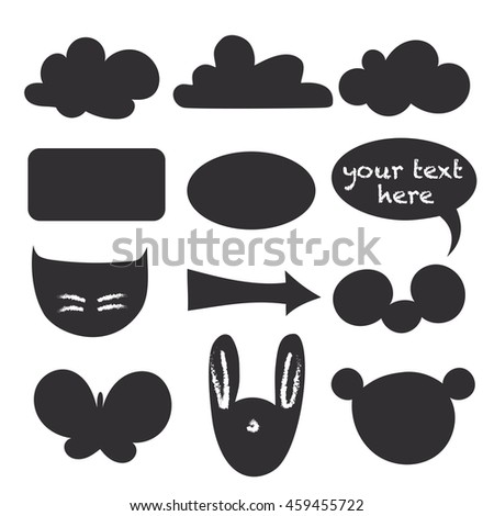 stickers chalk Board for your design, silhouettes set for your text, animals, clouds, butterfly, black frame on a white background