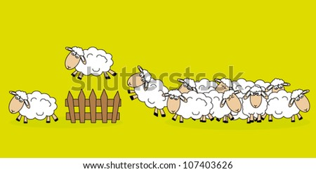 Stickers children's room. Sheep jumping a fence - stock vector