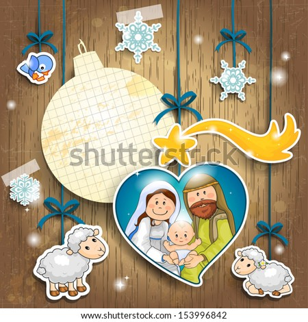 Stickers depicting the characters of the nativity on a wooden background with sheet of paper in the shape of ball where you can enter text-transparency blending effects and gradient mesh-EPS 10 - stock vector