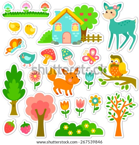 stickers designs with cute animals and plants - stock vector