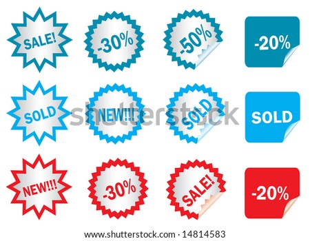 stickers (easy to change text), vector