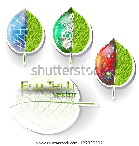 Stickers Ecological Technologies - stock vector