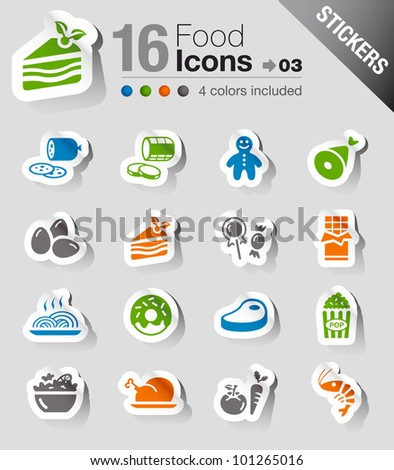Stickers - Food Icons - stock vector