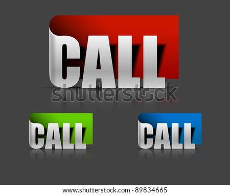 stickers for call design, vector illustration - stock vector
