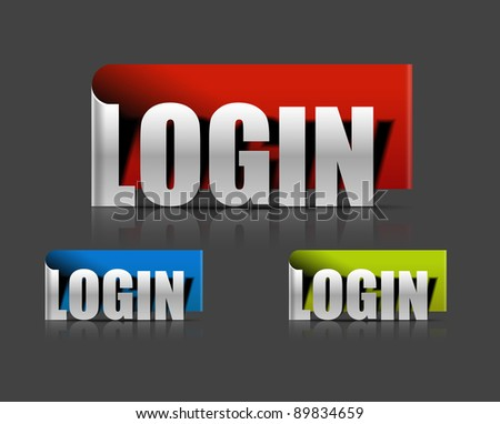 stickers for login design element, vector illustration - stock vector