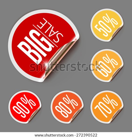 Stickers for Sale with Curled Gold Edge. Vector Illustration - stock vector