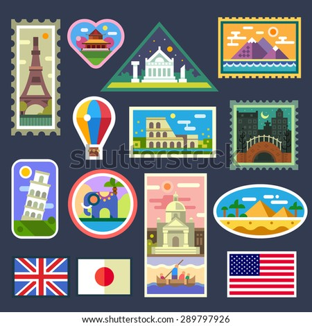 Stickers from various countries, Gifts from travelers. Memory to trips. Vector flat illustration - stock vector