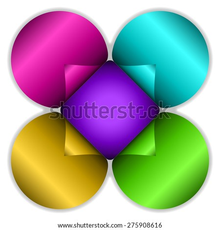 Stickers in flower shape and bright colors for backgrounds, advertising, prints, etc. Editable vector with several layers. Eps 10 - stock vector