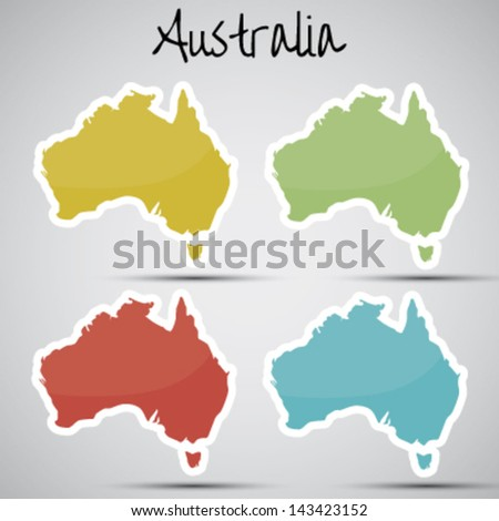 stickers in form of Australia - stock vector