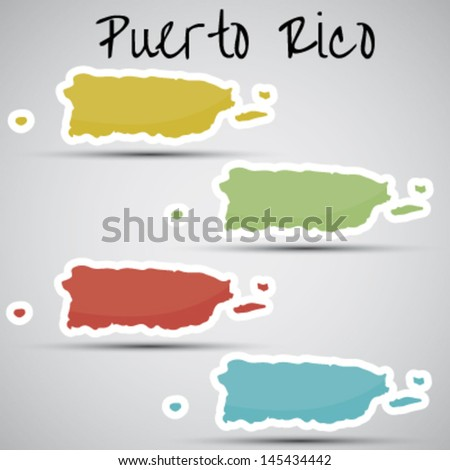 stickers in form of Puerto Rico - stock vector