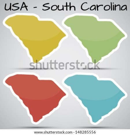 stickers in form of South Carolina state, USA - stock vector