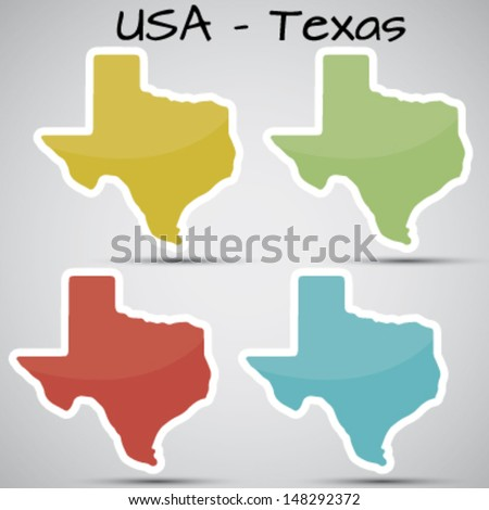 stickers in form of Texas state, USA - stock vector