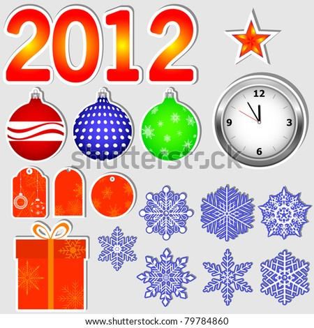 Stickers in new year 2012. Vector.