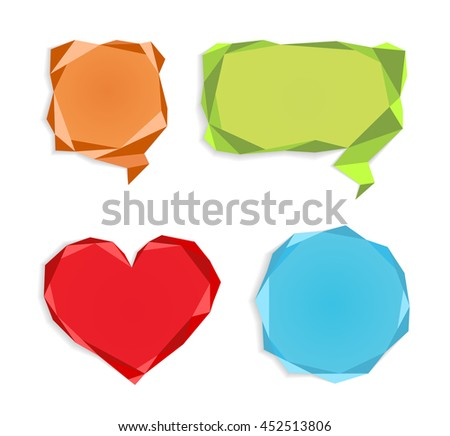 Stickers, labels, place for words, color, different shape, heart, round, square.