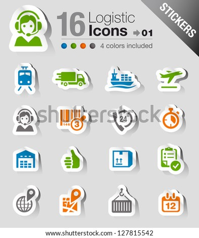 Stickers - Logistic and Shipping icons - stock vector