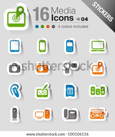 Stickers - Media Icons - stock vector