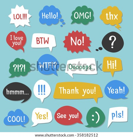 Stickers of speech bubbles color set with (black set). Acronyms and abbreviations. Vector Illustration - stock vector