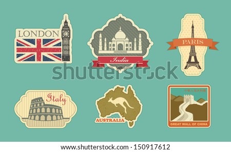 Stickers of travel: London, India, Paris, Italy, Australia, China - stock vector