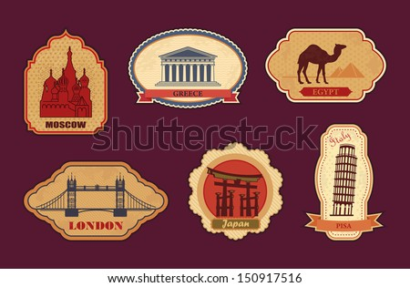 Stickers of travel: Moscow, Greece, Egypt, London, Japan, Italy - stock vector