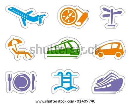 Stickers of travel, rest and tourism - stock vector
