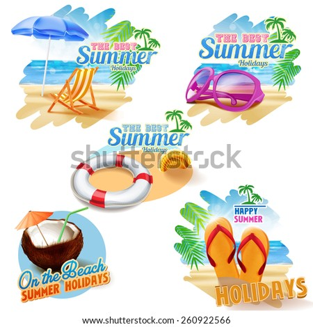 stickers on the beach - stock vector