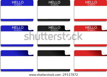 "Stickers - Set of ""hello, my name is"" vector illustrations - stock vector"