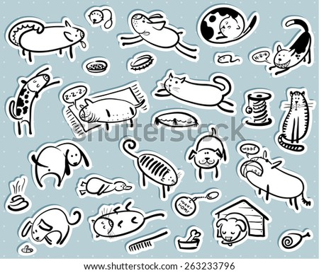 Stickers set with cats and dogs - stock vector