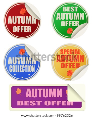 Stickers set with text best autumn offers, vector illustration - stock vector