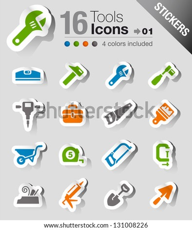 Stickers - Tools and Construction icons - stock vector