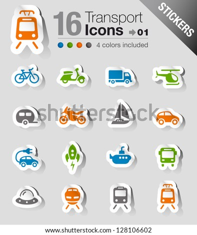 Stickers - Transportation icons - stock vector