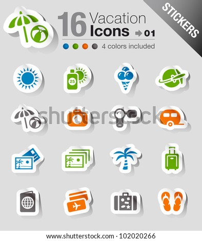 Stickers - Vacation icons - stock vector