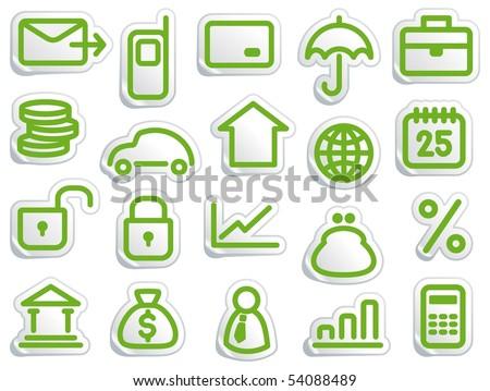 Stickers with financial and bank symbols - stock vector