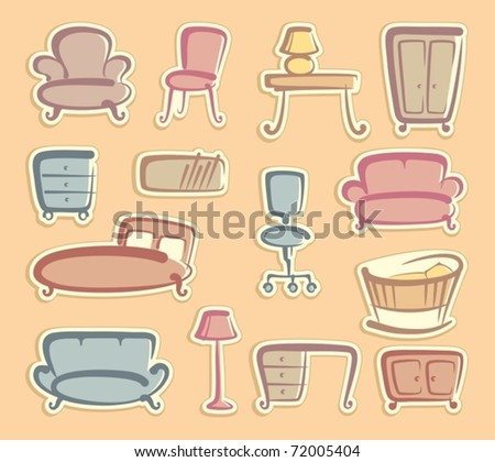 Stickers with furniture images - stock vector