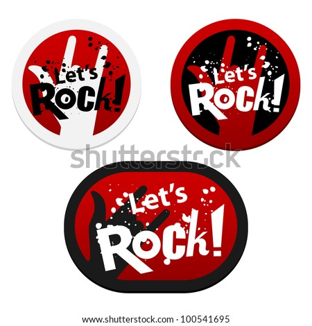 Stickers with Let's Rock!. Vector illustration.