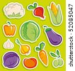Stickers with sketches of vegetables - stock vector