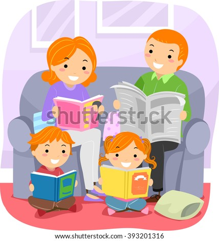 Stickman Illustration Featuring a Family Reading Together - stock vector