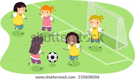 Stickman Illustration Featuring a Group of Girls Playing Soccer - stock vector