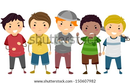 Stickman Illustration Featuring a Group of Young Male Bullies - stock vector