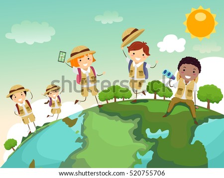 Stickman Illustration of a Group of Preschool Kids in Safari Uniforms Walking All Over a Globe