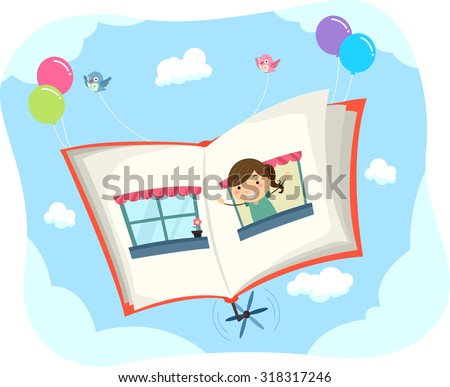 Stickman Illustration of a Little Girl Popping Out from the Page of a Book - stock vector