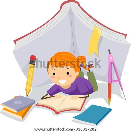 Stickman Illustration of a Little Girl Studying Under a Tent Made from School Supplies - stock vector