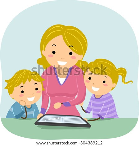 Stickman Illustration of a Mother Reading an E-book to Her Kids - stock vector